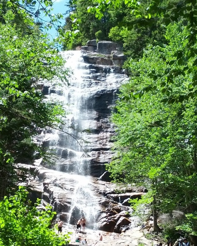 Various waterfalls are just off the roadside along White Mountain highway in New Hampshire
